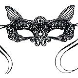 Antifaz máscara de carnaval veneciana cordón negro De las mujeres - Gato