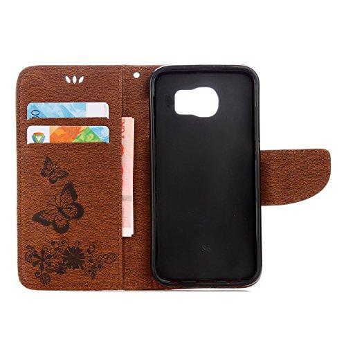Cover Samsung Galaxy S6, Alfort Custodia Protettiva in Pelle Verniciata Goffrata Farfalle e Fiori Alta qualità Cuoio Flip Stand Case per la Custodia Ci sono Funzioni di Supporto e Portafoglio Chiusura Marrone