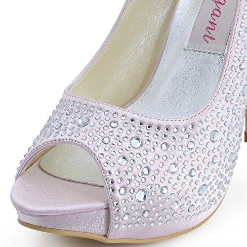 ElegantPark EP11066-IP Escarpins Femme Satin Bout Ouvert Aiguille Plateforme Diamant Chaussures de mariee Bal Rose