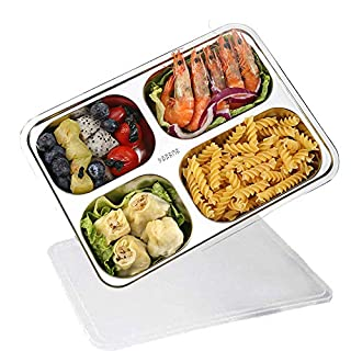 Lunch Box with Lid,AIYoo 18/8 (304) Stainless Steel Food Storage Container,4 Sections Bento Boxes for Students Adult Children Picnic,Restaurant Container Tray,Divided Food Serving Tray