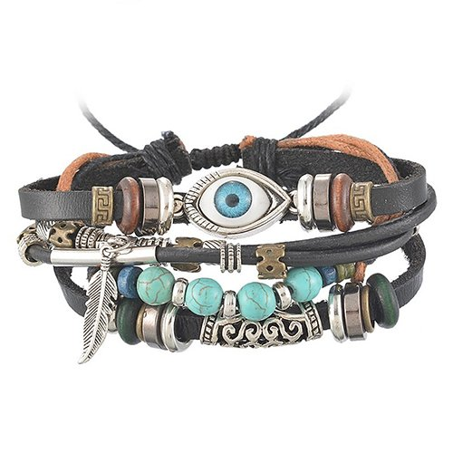 Bodhi2000 Herren Damen Einstellbare Kunstleder Armband Perlen Feder Klammer Armreif Armband (Bangles Feder)