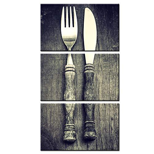 sechars - Vintage Küche Wanddeko, 3-teilig, Klassische Gabel und Messer auf rustikalem Tisch-Kunstdruck, Küchen-Poster für Esszimmer, Restaurant, Bar, Küche, Dekoration, gerahmt, fertig zum Aufhängen (Vintage Kuchen-messer-set)