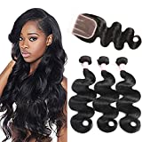 "Ms Taj Brazilian Body Wave Bundles With Closure 7A 100% Unprocessed Virgin Human Hair Extensions Body Wave 3 Bundles with 4×4 inch Three Part Lace Closure Natural Color (12 14 16 +12"" closure)"