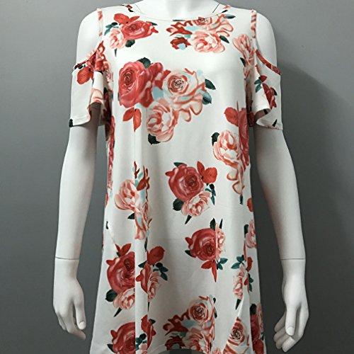 Honghu Damen Sommer Crew Neck Schulterfrei Blumen-Drucken T-shirt Weiß