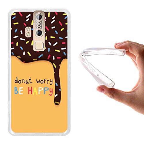 ZTE Axon Elite Hülle, WoowCase Handyhülle Silikon für [ ZTE Axon Elite ] Donut Worry Be Happy Handytasche Handy Cover Case Schutzhülle Flexible TPU - Transparent
