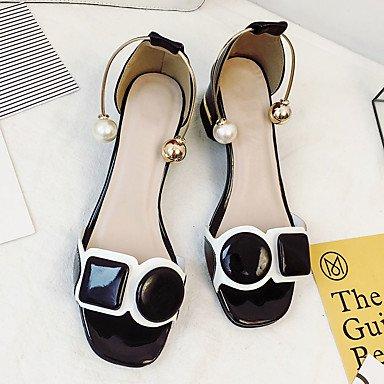LvYuan Da donna Sandali PU (Poliuretano) Estate Footing Fiocco Heel di blocco Bianco Nero 5 - 7 cm White