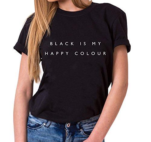 WhyKiki Black is My Happy Colour Trendiges Damen T-Shirt Girlie Kurzarm Baumwolle mit Druck, Farbe:Schwarz;Größe:3XL (Frauen Givenchy-t-shirt)