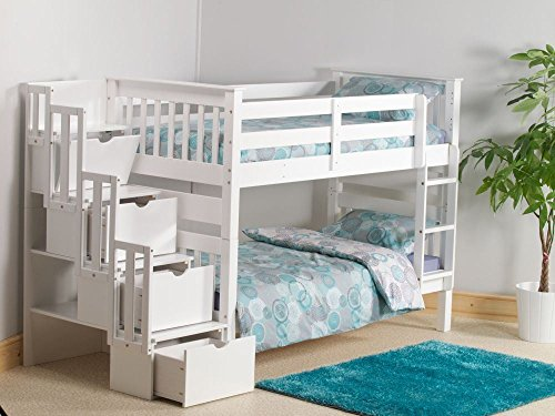 Happy Beds Mission White Wooden Staircase Storage Bunk Bed Furniture Bedroom Frame 3' Single 90 x 190 cm