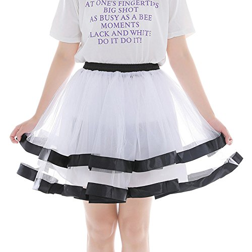Xmiral Damen Tüllröcke Tanzen Röcke Zwei Schichten Gaze Farben Kurzer Mini Petticoat(Weiß)