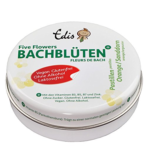 Edis Five Flowers Bachblüten Pastillen Orange/Sanddorn, 50g, in Metalldose.