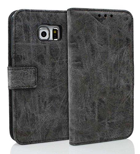 Samsung Galaxy S6 Edge Hülle im Bookstyle, Roreikes TPU Silikon Leder Flip Wallet Case Cover Schutzhülle mit Standfunktion Kredit für Samsung Galaxy S6 Edge Tasche Handytasche Schutz Etui Schale Handyhülle