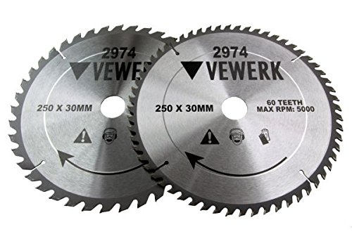 2x Kreissägeblatt 250x30mm Holz HM Sägeblatt 40Z 60Z Reduzierringe 20-16 mm