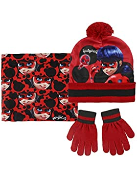 Ladybug Miraculous Set 3pezzi Cappello con Pon Pon Scaldacollo Guanti Invernale Bambina Taglia Unica 3-8anni
