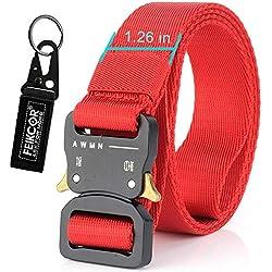 """FEIKCOR Cinturón táctico Cinturón de servicio pesado Cinturones de nylon ajustable de estilo militar con hebilla de metal Sistema Molle 1.26-1.75""""Cinturones al aire libre (Red-N016)"""