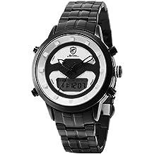 SHARK Hombre Cuarzo Relojes de Pulseras Acero Inoxidable LCD Cronómetro de  Alarma Zona horaria Doble visualización a89467d8777