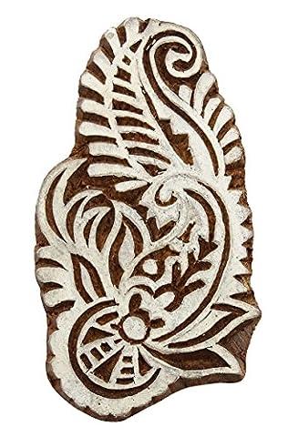 Motif Paisley Décoratif Bois Stamp Blocks Sculpté À La Main Impression Textile Bloc
