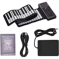 Muslady Piano Eléctrico Enrollable de 61 Teclas, Teclado de Piano Digital Silicona Flexible Portátil Multifunción