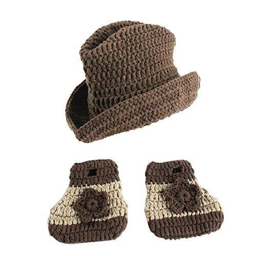 iKulilky Neugeborenes Baby Fotografie Requisiten Outfits Kostüm Nette Cowboy Crochet Beanie Strickmütze mit Socken