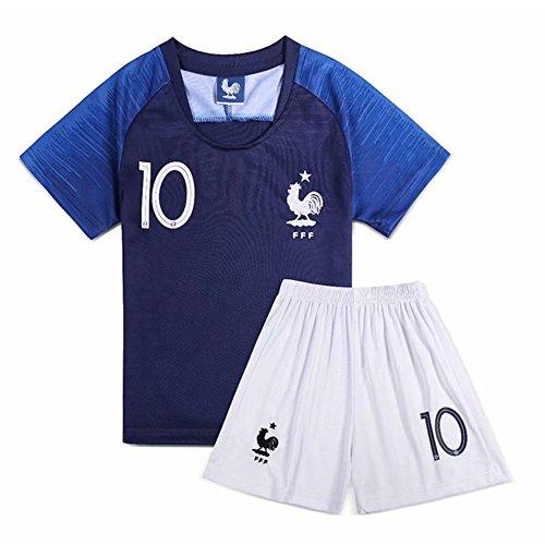 HZL 2018 Coupe du Monde Kylian Mbappé NO.10 France-FFF- Équipe de Football Enfants Suit Maillot de Football Tops + Shorts - Chaussettes Cadeaux (XS)