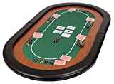 Riverboat Gaming Champion Folding Poker Table Top in Green Speed Cloth and Faux Leather Armrest 153cm