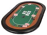 Dessus de table de poker pliable 'Champion' en tissu 'speed' vert et repose-bras en faux cuir 153cm