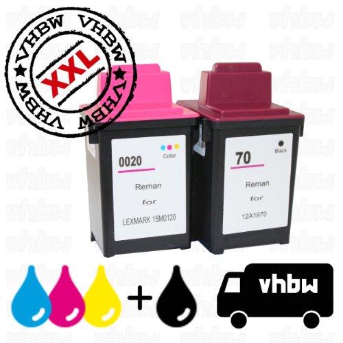 Vorteilspack Bundle Tintenpatronen Druckerpatronen Patronen Tinte Refill schwarz Black & Color farbig kompatibel für LEXMARK 20 & 70 -