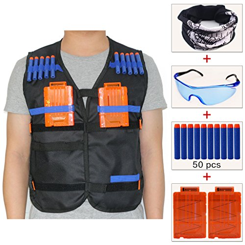 COSORO Kinder Schwarz Taktische Weste Jacken Sets (kommt mit Schädel-Gesichtsmaske + Schutzbrille + 50er Blue Darts Nachfüllpack + 2er Clip Magazine für 5 Darts) für Nerf Toy Gun N-strike Elite Series