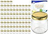 MamboCat 75er Set Rundgläser 212 ml Nieder Deckelfarbe Gold to 66 inkl. Diamant Gelierzauber Rezeptheft, Marmeladengläser, Einmachgläser, Einweckgläser, Gläser