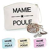 Trousse Mamie Poule, coton BIO, existe en 2 tailles, trousse de toilette, prénom, cadeau anniversaire, fête des mères, trousse bijoux, sacoche