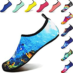 BIGU Chaussettes de Sport Aquatique de Nager de Surf de Yoga et de Plage Pieds Nus à Séchage Rapide pour Enfants Hommes Femmes - Mer - Taille 28/29 EU