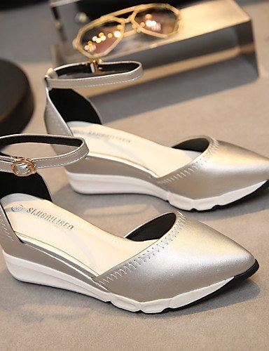 WSS 2016 Chaussures Femme-Habillé-Noir / Argent-Talon Compensé-Talons / Confort / Bout Pointu / Bout Fermé-Talons-Similicuir black-us6.5-7 / eu37 / uk4.5-5 / cn37
