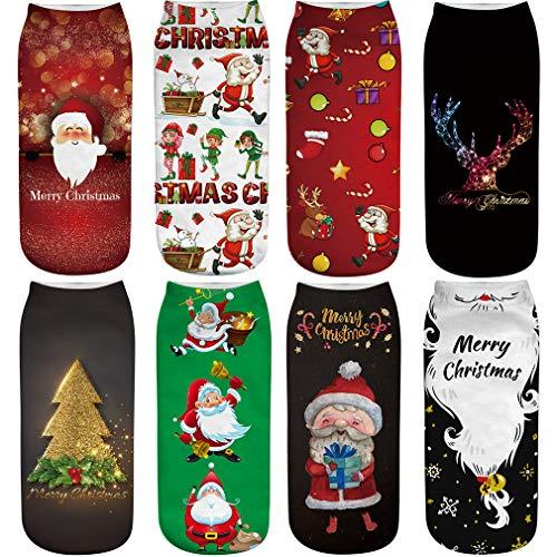 FLYCHEN Donna 8 Paia di Calze Corte Natalizie Festivo Babbo Natale Caldo Inverno Confezione Christmas Gift Pupazzo Neve Renna EU 37-45 set 1