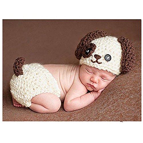 Fashion Neugeborene Jungen Mädchen Baby Kostüm gestrickt Fotografie Requisiten Puppy Hat (Puppy Kostüme)