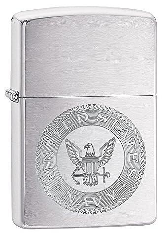 Zippo uns Marine Wappen winddicht Feuerzeuge–Chrom gebürstet (Metallic One Pocket)