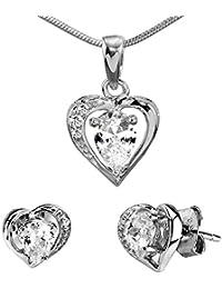 Silverstone EGO Argento Orecchini e Ciondolo a forma di cuore di cristallo  trasparente argento 925,