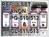 Tinte Refill Set Nachfülltinte Refillset Druckertinte Canon PG-510 PG-512 CL-511 CL-513 PG 510 512 CL 511 513 PIXMA iP2700 MP240 MP260 MP480 MP495 MP490 MP280 MP250 MP270 MX320 MX340 MX350
