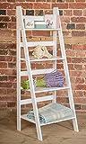 Blanco escalera estantería con huecos y cuatro niveles