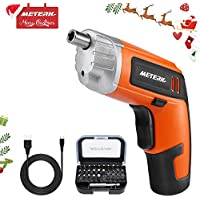 Cordless Screwdriver, Meterk 3.6V 2000mAh Rechargeable Lithium Battery Electric Screwdriver Sets with LED Light Torque 5Nm 31pcs Driver Bits USB Charging Cable Designed for Household Use