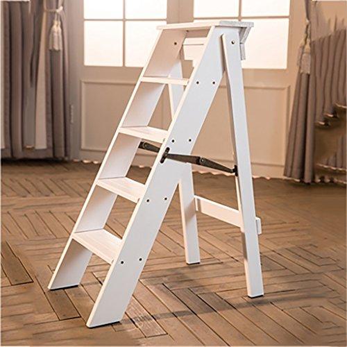 PENGFEI Pliable Stool Ladder Multifonction Usage Double 5 Étapes Bois Massif 3 Couleurs, 34 * 60 * 88CM (Couleur : Blanc)