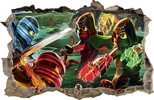 ARTWALL WANDAUFKLEBER Loch in der Wand 3D Legos Ninjago Wand Aufkleber Wandtattoo 94 (S - 50 x 32 cm)