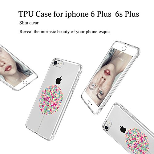 iPhone 6 Plus/6s Plus hülle vanki® Lustig Schutzhülle Clear Case Cover Bumper Anti-Scratch TPU Silikon Handyhülle für iPhone 6 Plus/6s Plus (5,5 Zoll) (Dandelion) Ballons