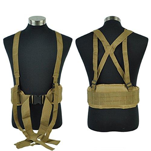 Airsson Duty Belt Sicherheit Taktische Molle Taille gepolsterte Gürtel Airsoft Combat Pflicht Gürtel Pad mit verstellbaren H-förmigen Strap Suspender für Outdoor-Sport Bräune