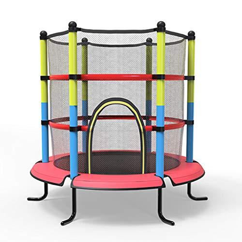 Unbekannt Lxn 55-Zoll-Kids-Round-Mini-Trampolin mit Gehäuse und Sicherheits-Sprungmatte, gelb, Tragkraft bis zu 350 kg, Robuster Stahlrahmen