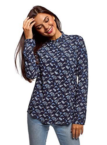 Oodji Collection Mujer Blusa Viscosa Cuello Mao, Azul