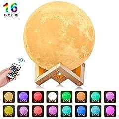Idea Regalo - Luna Lampada Led, 3D Stampa Luna luce USB Ricaricabile 16 colori Moon Lamp Lampada led Luna Controllo e Telecomando