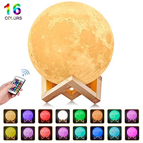 Luna lampada led, 3d stampa luna luce usb ricaricabile 16 colori moon lamp lampada led luna controllo e telecomando