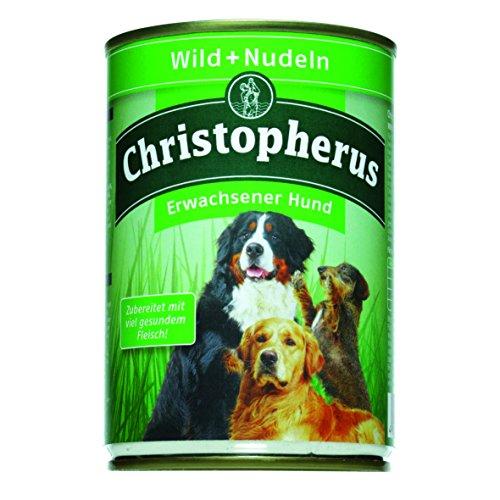 Christopherus Alleinfutter für Hunde, Nassfutter, Erwachsener Hund, Wild/ Nudeln, Fleischmahlzeit 400 g