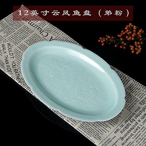 YUWANW Celadon Porzellan-Geschirr Keramik-Geschirr Anzug Chinesische Gerichte Haushalt Teller Stäbchen Kleine Löffel, 12 Zoll Yunfeng Fischplatte (Bruder Pulver)