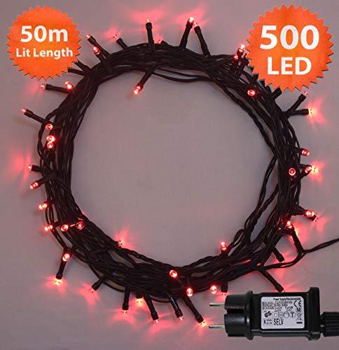 Luces hadas Navidad 500 LED Rojo árbol interior exterior