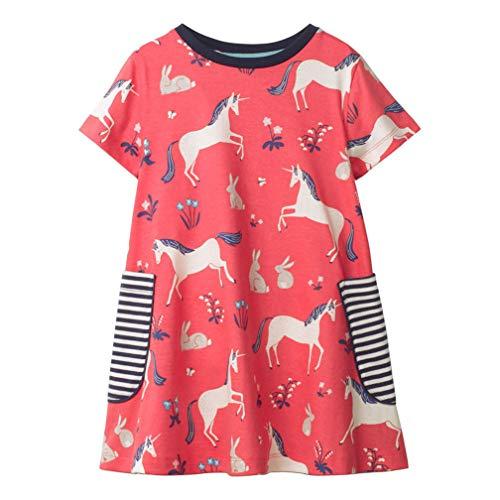 Mädchen Baumwolle Kurze Ärmel Kleid Lässiger süßer Drucken T-Shirt Kleid 1-7 Jahre (5-6 Jahre, Roter Pegasus)